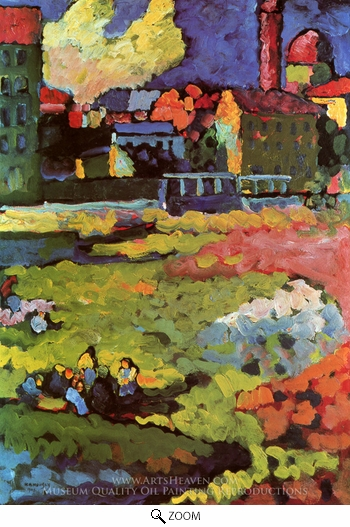 Wassily Kandinsky, Schwabing with St. Ursula Church oil painting reproduction