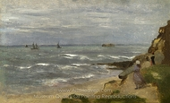 Seascape with Figures on Cliffs painting reproduction, Jean-Baptiste Camille Corot