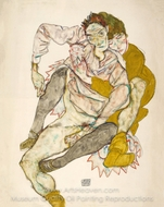 Seated Couple (Egon and Edith Schiele) painting reproduction, Egon Schiele
