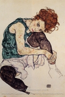 Seated Woman with Bent Knee painting reproduction, Egon Schiele