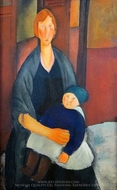 Seated Woman with Child painting reproduction, Amedeo Modigliani