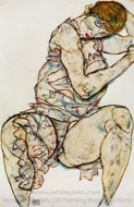 Seated Woman with Her Left Hand in Her Hair painting reproduction, Egon Schiele