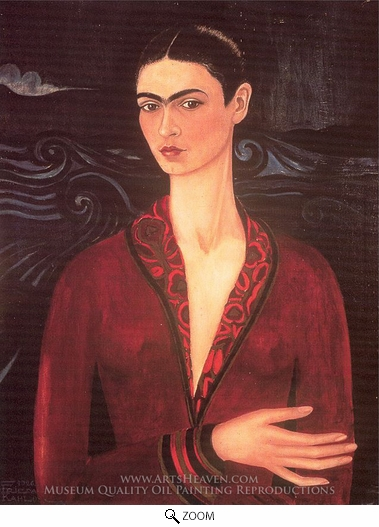 Frida Kahlo, Self-Portrait in a Velvet Dress oil painting reproduction