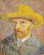 Self-Portrait with a Straw Hat painting reproduction, Vincent Van Gogh