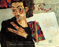 Self-Portrait with Black Clay Vase and Spread Fingers painting reproduction, Egon Schiele