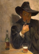 Self Portrait with Broad Brimmed Hat painting reproduction, Diego Rivera