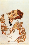 Self-Portrait with Checkered Shirt painting reproduction, Egon Schiele
