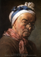 Self-Portrait with Glasses painting reproduction, Jean Simeon Chardin