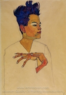 Self-Portrait with Hands on Chest painting reproduction, Egon Schiele