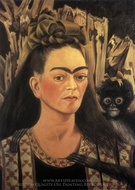 Self-Portrait with Monkey painting reproduction, Frida Kahlo