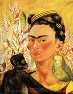 Self-Portrait with Monkey and Parrot painting reproduction, Frida Kahlo