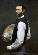 Self-Portrait with Palette painting reproduction, Jean Frederic Bazille