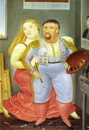 Self-Portrait with Sofia painting reproduction, Fernando Botero