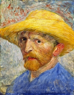 Self-Portrait with Straw Hat painting reproduction, Vincent Van Gogh