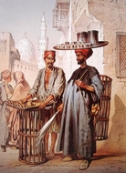 Sellers in Cairo painting reproduction, Amedeo Preziosi