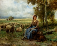 Shepherdess Watching over her Flock painting reproduction, Julien Dupre
