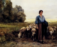 Shepherdess with her Flock painting reproduction, Julien Dupre