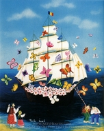 Ship with Butterflies and Flowers painting reproduction, Paula Jacob