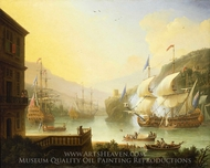 Shipping in the Bristol Avon painting reproduction, Jan Karel Donatus Van Beecq