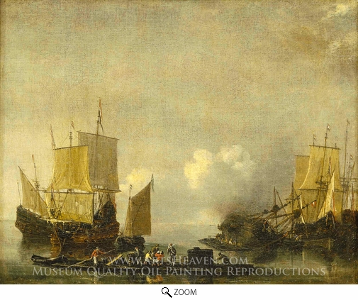 Reinier Nooms, Ships Being Repaired oil painting reproduction