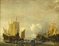 Ships Being Repaired painting reproduction, Reinier Nooms