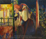 Sir Galahad at the Ruined Chapel painting reproduction, Dante Gabriel Rossetti