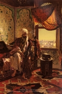 Smoking the Hookah painting reproduction, Rudolph Ernst