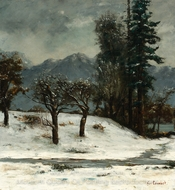 Snow painting reproduction, Gustave Courbet