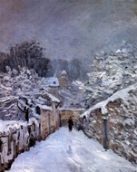 Snow at Louveciennes painting reproduction, Alfred Sisley