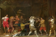 Soldiers Fighting Over Booty in a Barn painting reproduction, Willem Duyster
