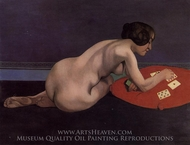 Solitaire, Nude Playing Cards painting reproduction, Felix Vallotton