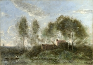 Souvenir of a Journey to Coubron painting reproduction, Jean-Baptiste Camille Corot