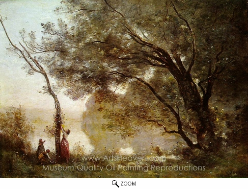 Jean-Baptiste Camille Corot, Souvenir of Mortefontaine oil painting reproduction