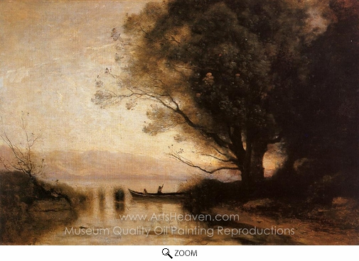 Jean-Baptiste Camille Corot, Souvenir of Riva oil painting reproduction