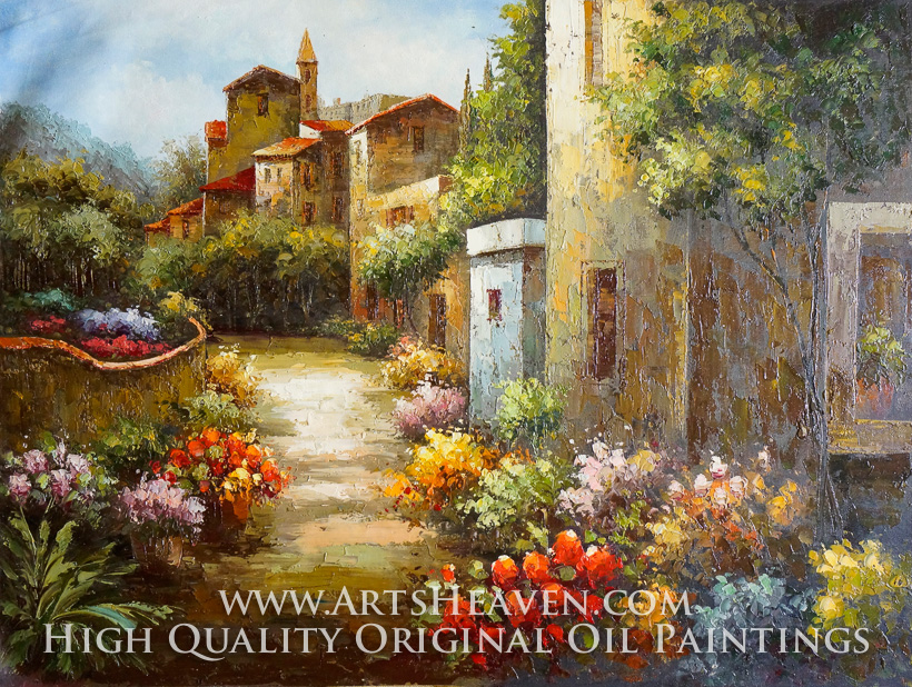 various artist spanish villas and flower garden oil painting reproduction - Flower Garden Paintings