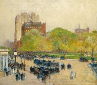 Spring Morning in the Heart of the City painting reproduction, Childe Hassam