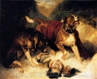 St. Bernard Dogs painting reproduction, Sir Edwin Landseer