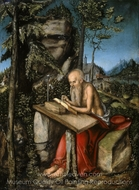 St. Jerome in Rocky Landscape painting reproduction, Lucas Cranach