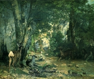 Stags by the Stream at Plaisir-Fontaine, Doubs painting reproduction, Gustave Courbet