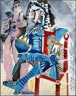 Standing Nude and Seated Musketeer painting reproduction, Pablo Picasso (inspired by)
