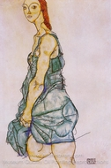 Standing Woman in a Green Shirt painting reproduction, Egon Schiele