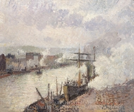 Steamboats in the Port of Rouen painting reproduction, Camille Pissarro