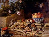 Still Life of Grapes Peaches In A Blue and White Porcelain Bowl and a Melon painting reproduction, Alexandre Francois Desportes