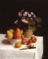 Still Life Primroses, Pears and Promenates painting reproduction, Henri Fantin-Latour