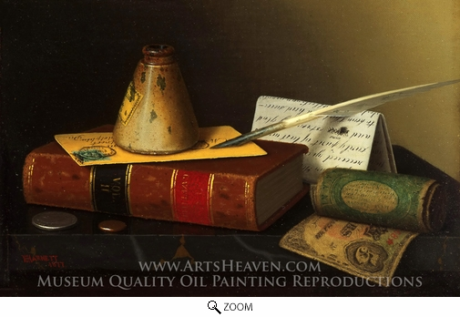 William Michael Harnett, Still Life with a Writing Table oil painting reproduction