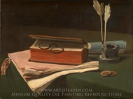 Still Life with Book, Papers and Inkwell painting reproduction, Francois Bonvin