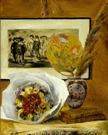 Still Life with Bouquet and Fan painting reproduction, Pierre-Auguste Renoir