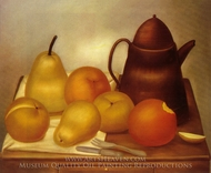 Still Life with Coffee Pot painting reproduction, Fernando Botero