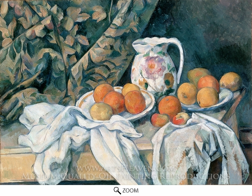 Paul Cézanne, Still Life with Curtain and Flowered Pitcher oil painting reproduction