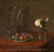 Still Life with Glass Jug, Fruit and Flowers painting reproduction, Henri Fantin-Latour